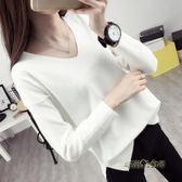 v領寬鬆針織打底衫女長袖裝新款春季毛衣套頭韓版上衣「時尚彩虹屋」