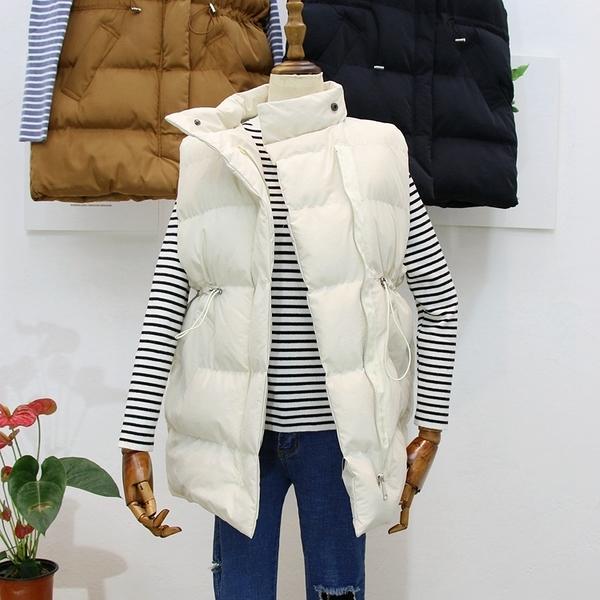 背心外套羽絨棉馬甲女秋冬新款韓版中長款抽繩收腰寬鬆面包服加厚棉衣坎肩 童趣