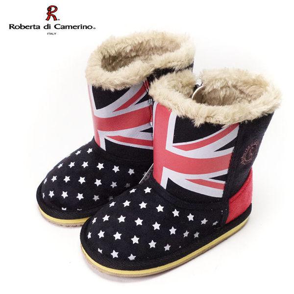 童靴 義大利諾貝達Roberta 英國國旗滿版星星 毛毛保暖雪靴 黑14-19號 ~EMMA商城