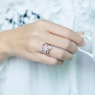 戒指 925純銀鑲鑽-多層雪花生日情人節禮物女開口戒73dt696【時尚巴黎】