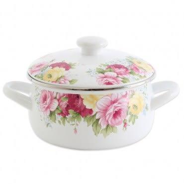 RISOTTO 法式庭園琺瑯系列 古典玫瑰雙耳湯鍋1.7L
