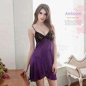 大尺碼Annabery唯美蕾絲開襟紫色柔緞面二件式睡衣 緞面睡衣 《SV8200》快樂生活網