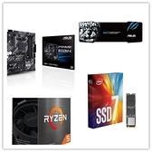 (5600X組合包)AMD R5 5600X + 華碩 PRIME B550M-K + Intel 760P 256G M.2 SSD + 華碩 雪原豹電競滑鼠墊