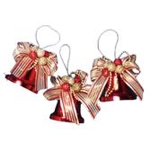 聖誕 聖誕樹 裝飾 佈置 金蔥果豪華鐘吊飾3入-紅