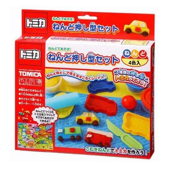 〔小禮堂〕TOMICA小汽車 黏土模具組合《4色.紅盒裝》兒童玩具.美勞玩具 4973107-16064