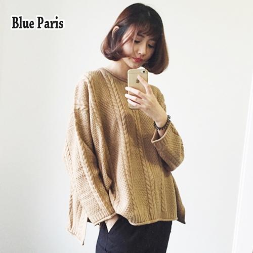 【藍色巴黎】韓版純色麻花圓領寬鬆長袖針織衫 毛衣 上衣《3色》【28826】