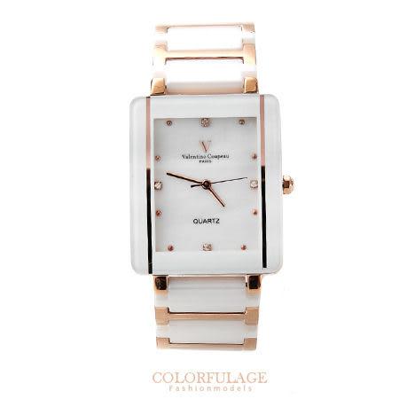 Valentino范倫鐵諾 珍珠貝面錶盤設計精密白陶瓷玫瑰金手錶腕錶 柒彩年代【NE1049】原廠公司貨