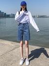 牛仔五分褲 五分牛仔短褲女夏寬鬆2021年新款韓版時尚修身高腰直筒顯瘦短褲子 快速出貨