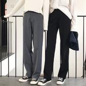 垂感闊腿褲女秋季韓版大碼高腰拖地褲工裝西裝褲寬鬆休閒直筒長褲  莉卡嚴選