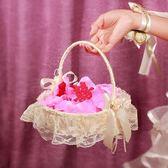 花童籃 婚禮花童撒花小花籃手提蕾絲撒花瓣花籃 莎拉嘿幼