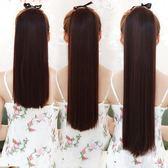 假髮馬尾辮子女生中長短版直發自然逼真綁帶式假髮尾一片式接髪片 萊爾富免運