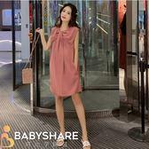 BabyShare時尚孕婦裝 【JUL1125】 現貨新品 渡假風 韓版胸前抓皺無袖雪紡裙