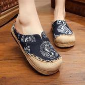 新款民族風復古風亞麻鞋 圓頭龍圖騰棉麻拼接情侶鞋女單鞋