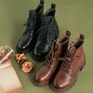 真皮手工女靴 系帶中筒馬丁靴 厚底休閒短靴/2色-夢想家-標準碼-1022