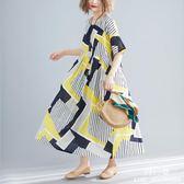長裙 洋裝 大尺碼 女裝2019夏新款文藝mm200斤寬鬆遮肚減齡顯瘦妹妹連衣裙
