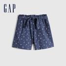Gap女童 甜美棉質繫帶短褲 670300-藍色印花
