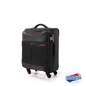 AT美國旅行者 20吋Sky商務休閒可擴充布面TSA登機箱(黑/紅)