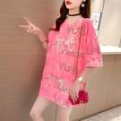 長款上衣 T恤情侶女裝短袖年夏季中長款韓版寬鬆大碼歐貨潮上衣服 晶彩