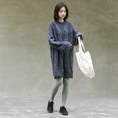 長袖洋裝-圓領寬鬆麻花針織連身裙2色73xm37[時尚巴黎]