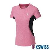 【超取】K-SWISS Neon Logo Tee涼感排汗T恤-女-莓紅