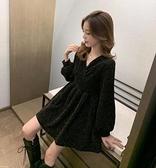 M-4XL大碼長袖洋裝 連身裙 長裙V領亮片胖MM連身裙收腰A字裙赫本風小黑裙 R028-B 胖丫