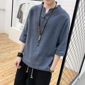 唐裝漢服復古亞麻t恤男裝夏季中式棉短袖