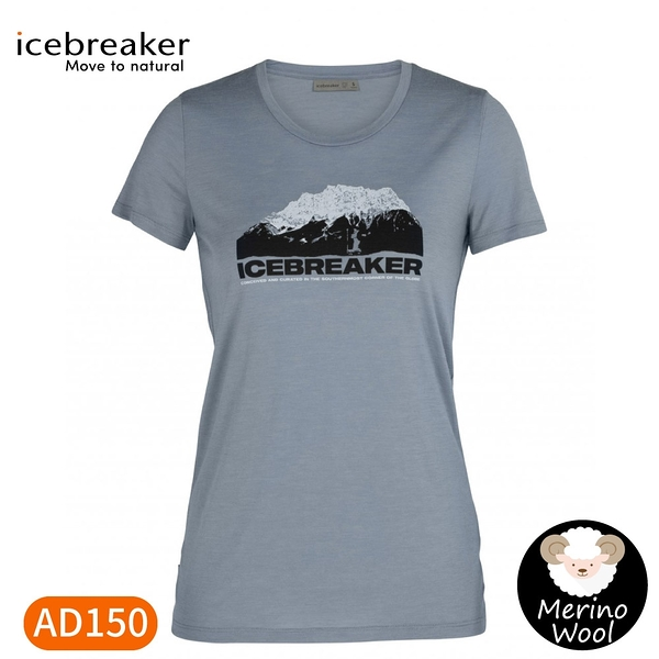 【Icebreaker 女 Tech Lite 大圓領短袖上衣 AD150 冰山高峰《藍》】IB105382/機能服/排汗衫