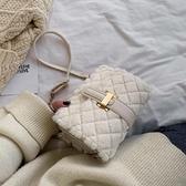 秋冬毛毛小包包女2021新款潮韓版百搭斜背包大氣時尚單肩包小方包 滿天星