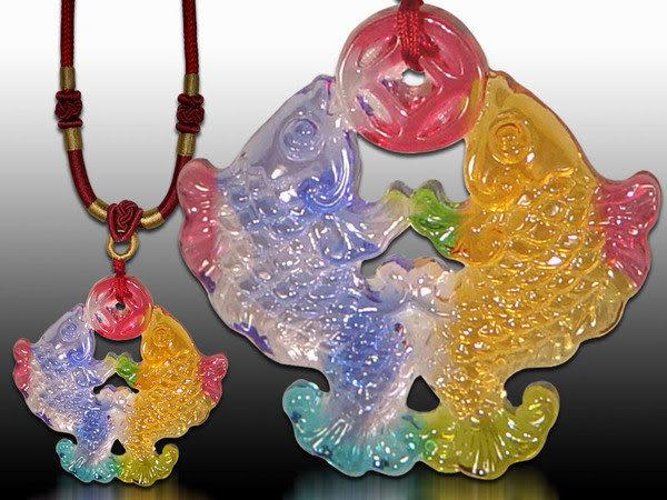 鹿港窯~居家開運水晶琉璃項鍊~吉慶雙魚 附精美包裝 ◆免運費送到家