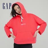 Gap女裝 碳素軟磨系列 Logo法式圈織連帽休閒上衣 792132-粉紅色