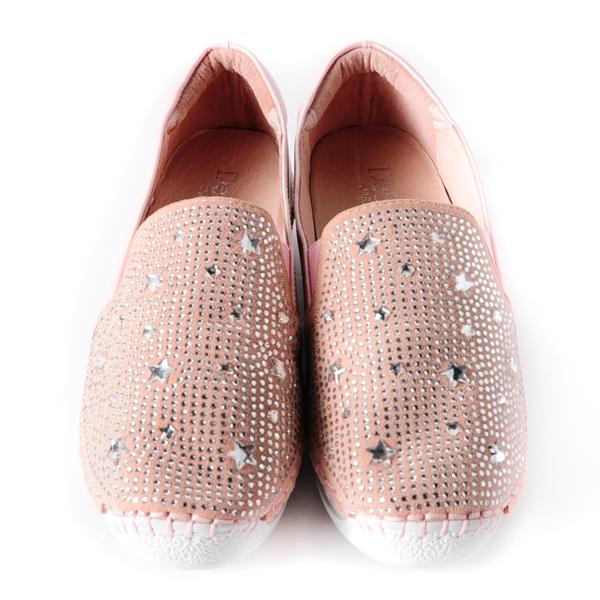 DeSire  星星圖騰燙鑽休閒鞋  -粉