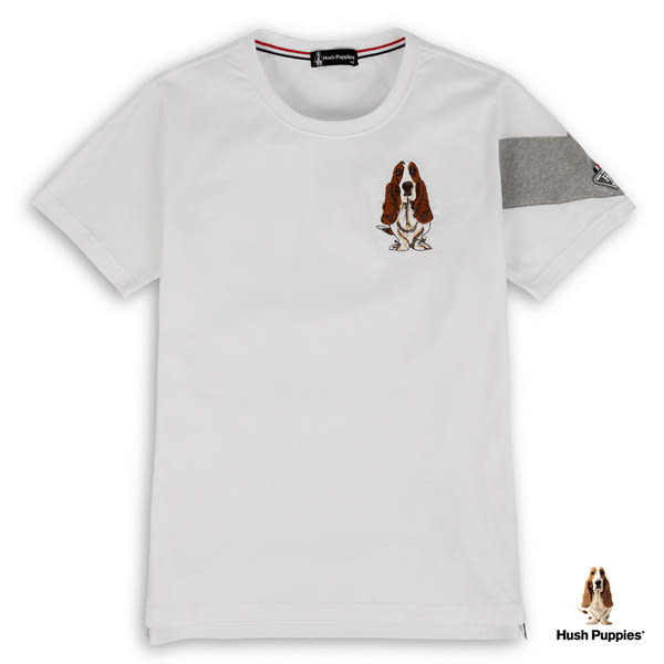 Hush Puppies T恤 男裝織帶配色個性潮流刺繡狗T恤