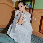 連身裙 印花質感泡泡短袖洋裝OM83244-創翊韓都