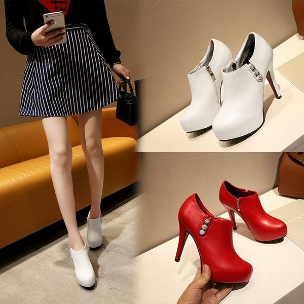 丁果時尚、歐美水鑽高跟防水台裸靴短靴