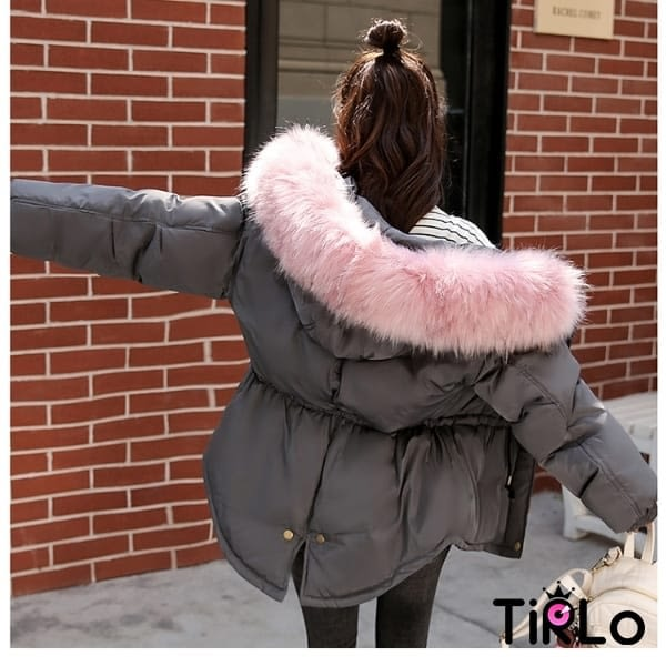 外套 -Tirlo-大推!韓版毛領抽繩縮腰鋪棉外套-七色(現+追加預計5-7工作天出貨)
