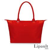法國時尚Lipault肩背手提兩用托特包M(寶石紅)