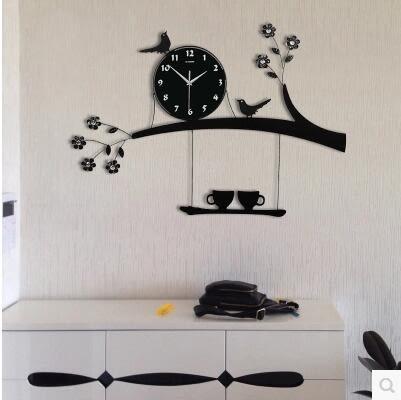 喜上枝頭創意個性客廳掛鐘 歐式時尚簡約鐘錶 現代靜音石英鐘時鐘