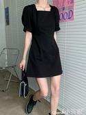 泡泡袖洋裝夏季2020年新款復古收腰顯瘦泡泡袖連身裙小黑裙女裝夏天氣質裙子 小天使