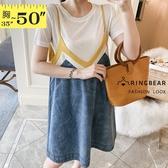 牛仔連身裙--時尚活力撞色衣領設計寬鬆A字版型牛仔細肩帶吊帶裙(藍L-4L)-Q114眼圈熊中大尺碼◎