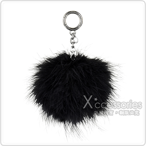 MK MICHAEL KORS CHARMS FUR POM POM毛球吊飾銀金屬鑰匙圈(黑)