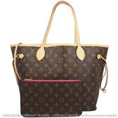 Louis Vuitton LV M41178 NEVERFULL MM 經典花紋子母束口購物包.牡丹紅  全新 預購ˋ【茱麗葉精品】
