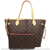 Louis Vuitton LV M41178 NEVERFULL MM 經典花紋子母束口購物包.牡丹紅  全新 現貨【茱麗葉精品】