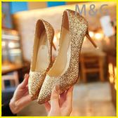 MG 金色高跟鞋婚禮銀色尖頭高跟鞋亮片婚鞋漸變色細跟單鞋女金色伴娘鞋年會宴會