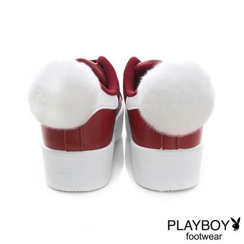 PLAYBOY萌兔甜心~後毛球仿皮厚底休閒鞋-紅(女)