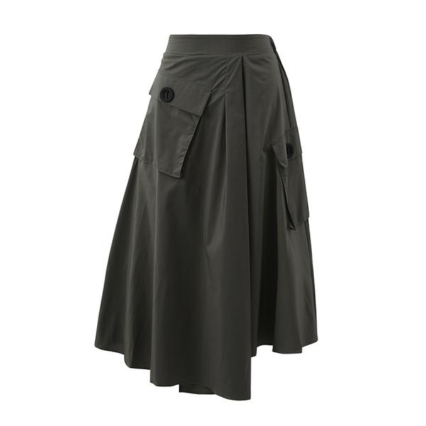 貼口袋後鬆緊腰裙子A字裙八分裙日系 【13-18-81154-20】ibella 艾貝拉