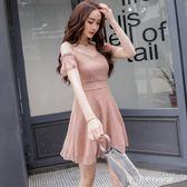 雪紡洋裝女夏新款韓版一字肩露肩氣質初戀仙女吊帶裙子   時尚潮流