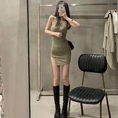 2020夏季新款設計感露肩單肩吊帶洋裝修身性感開叉包臀裙子女裝 【ifashion·全店免運】