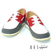 XES 男鞋 休閒百搭 男款拼接撞色 帆船鞋 帥性紅