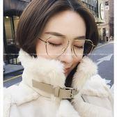現貨-韓國ulzzang復古眼鏡網紅鏡架女平光鏡金屬不規則復古王柳雯眼鏡框架男配近視眼鏡118