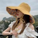 漁夫帽女2021新款網紅大沿帽檐防曬紫外線夏季遮臉太陽春秋遮陽帽